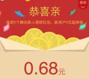 手Q端10号新一期100%送0.68-5元理财通红包 买入活期可提现