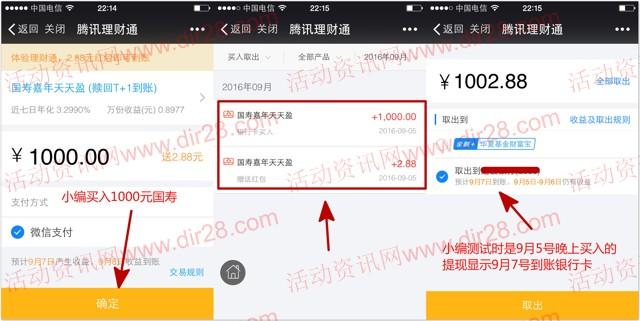 微信端5号新一期100%送2.88元理财通红包 买入活期可提现