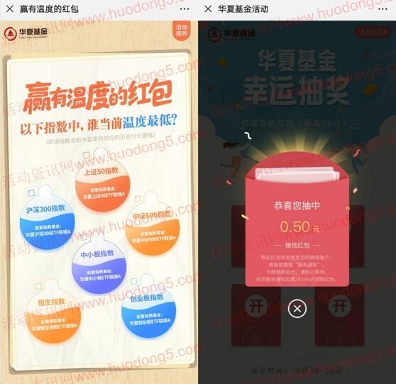 华夏基金低温指数红包抽0.3-88元微信红包 亲测中0.5元